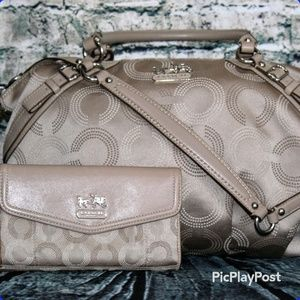 Coach Madison dotted op art Sophia satchel/wallet
